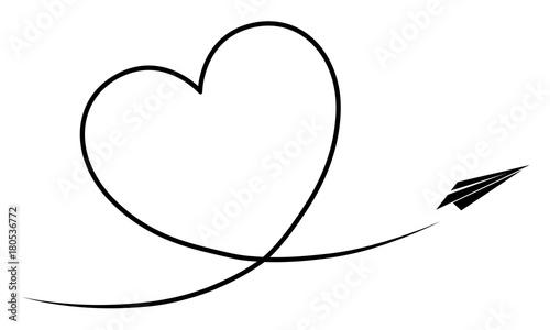 papierflieger fliegt ein kondesstreifen herz vektor schwarz wei freigestellt stockfotos. Black Bedroom Furniture Sets. Home Design Ideas