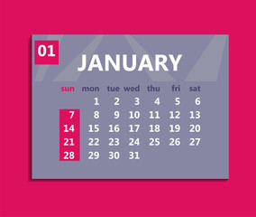 January calendar 2018. Week starts on Sunday. Business vector illustration template for one month 2018 years.