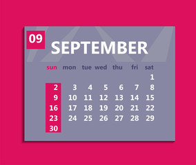 September calendar 2018. Week starts on Sunday. Business vector illustration template for one month 2018 years.