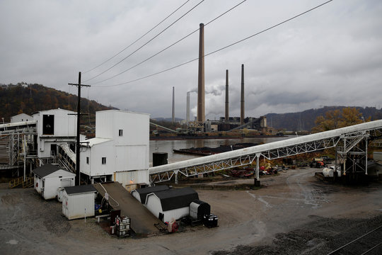 A building for transferring coal to barges stands at the Murray Energy Corporation port facility in Powhatan Point, Ohio