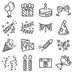 Happy birthday icons on white background