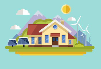 Wind turbines and solar panels produce electricity for the home. Vector illustration.
