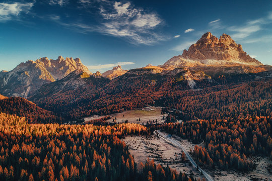 Aerial view of National Park Tre Cime di Lavaredo. Location place Auronzo, Misurina, Dolomiti alps, South Tyrol, Italy, Europe