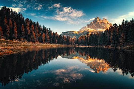 Aerial view of Lago Antorno, Dolomites, Lake mountain landscape with Alps peak , Misurina, Cortina d'Ampezzo, Italy