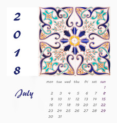 July Desk Calendar 2018 Template flyer design vector. Decorative tiles