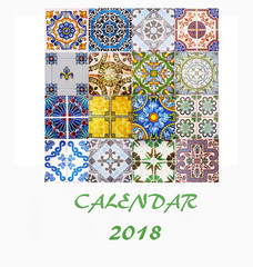 Desk Calendar 2018 Template flyer design vector. Decorative tiles. Title