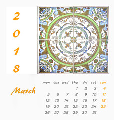 March.Desk Calendar 2018 Template flyer design vector.Decorattive tiles