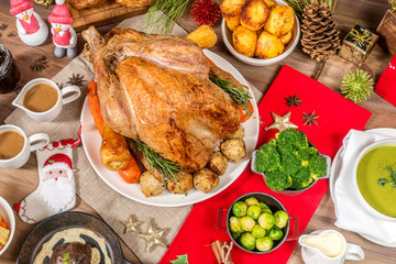 Christmas dinner. Roasted turkey table setting with holidays background