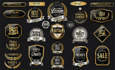 Golden sale frame badge and label vector collection