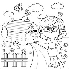 Teacher in front of school building. Black and white coloring book page