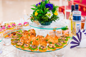Delicacies and snacks at the Banquet. Corporate event. Outside catering. Buffet.