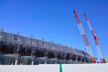 Spoed Fotobehang Stadion 建設中の新国立競技場
