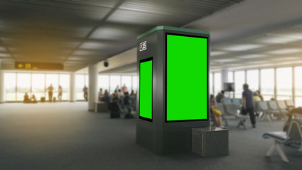 Mock up of blank LCD monitor at airport gate.
