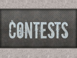 CONTESTS painted on metal panel wall.