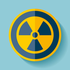Radiation sign icon in flat style on blue background, toxic emblem, vector design illustration for you project