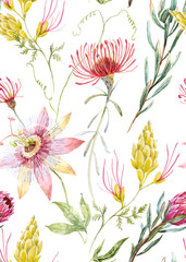 Wall Mural - Watercolor floral pattern