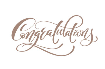 Congratulations Hand lettering Calligraphic greeting inscription Vector handwritten typography