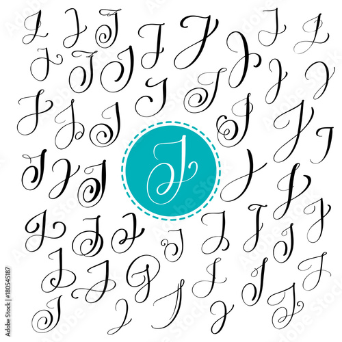 Set of Hand drawn vector calligraphy letter J  Script font  Isolated