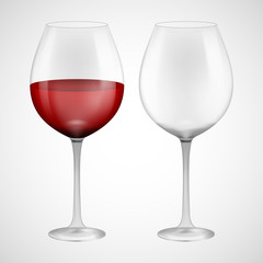 Wineglass with red wine. Illustration isolated on background