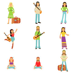 Hippies dressed in classic woodstock sixties hippy subculture clothes. Vector flat set