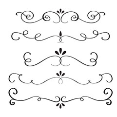 Collection or set of vintage styled calligraphic flourishes. Vector illustration