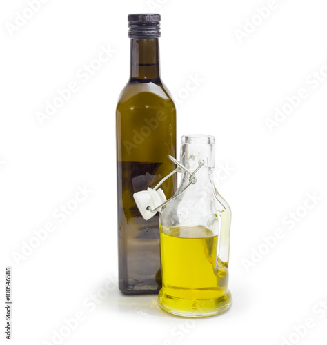 Two Different Bottle Of Olive Oil On A White Background