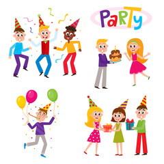 Set of friends having fun at birthday party, dancing, giving gifts, birthday cake, cartoon vector illustration isolated on white background. Young people, boys and girls, dancing, giving gifts