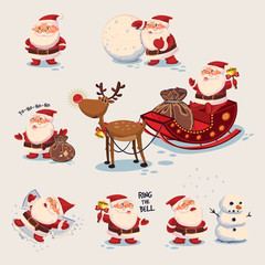 Santa Claus illustration. Vector Christmas set. Collection of cute cartoon characters for a holiday.