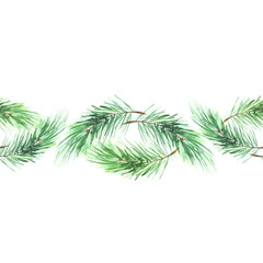 Watercolor spruce, pine, fir branches. Use for decoration, postcards, frame, advertisements, ads, and more. Seamless floral pattern.