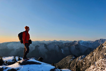 HIking in Mount Seymour Provincial Park in winter. North Vancouver. British Columbia. Canada.
