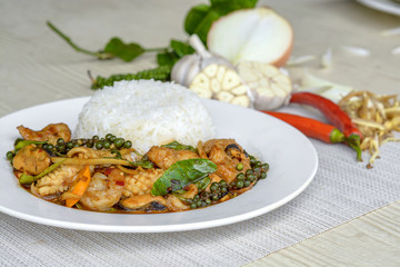 Seafoods cooked with thai spicy paste and thai harb
