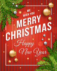 Merry Christmas poster banner with knitted red background, gold and silver Christmas balls and template text for your congratulation. Eps 10 vector illustration