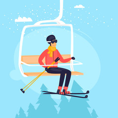 Skier riding on the lift. Winter sports, mountains. Flat design vector illustration.