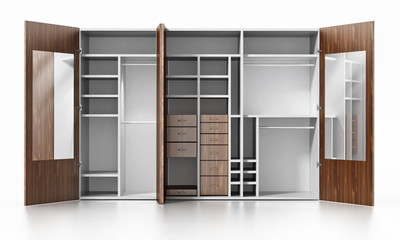 Empty wardrobe isolated on white background. 3D illustration