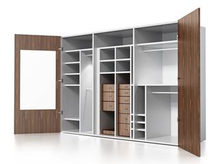 Empty wardrobe isolated on white background. 3D illustration