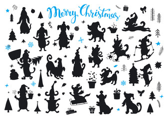 collection of cartoon christmas and happy new year dogs silhouettes