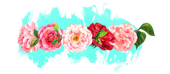 Border of watercolour flowers on splash of teal paint