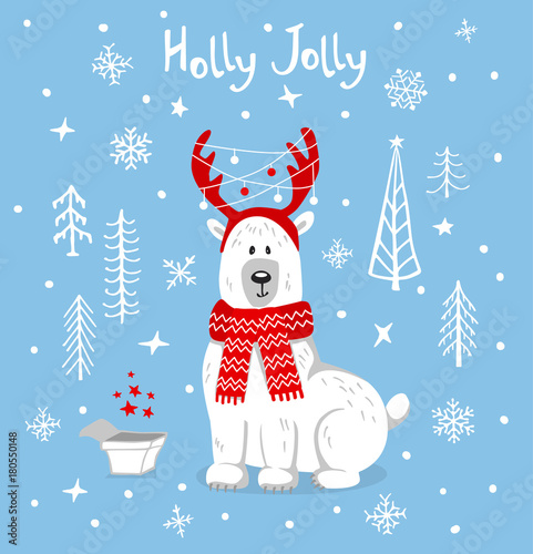 Merry christmas happy new year xmas greeting card with cute polar merry christmas happy new year xmas greeting card with cute polar bear in cartoon forest on m4hsunfo