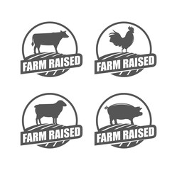 Farm raised stamps. Set of vector stamp with cow, rooster, lamb and pork.