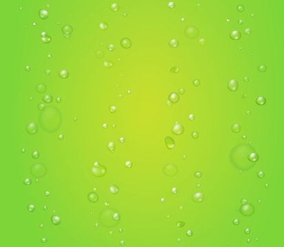 Creen vector background with bubbles or drops. Lime, aloe kiwi juice illustration