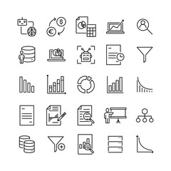 Modern outline style big data icons collection.