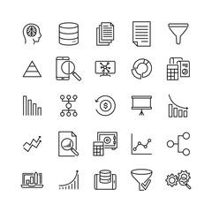 Set of premium big data icons in line style.