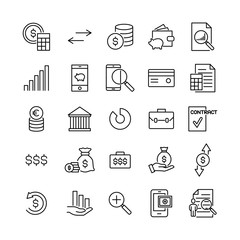 Modern outline style banking icons collection