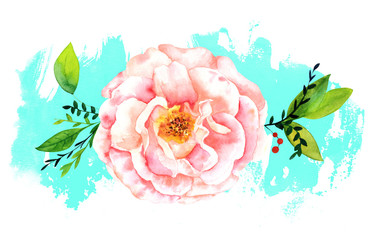 Watercolor rose on abstract teal brush stroke with copyspace