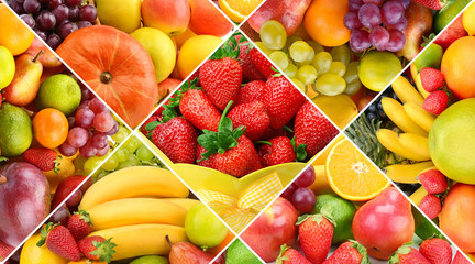 Collection fresh fruits background.