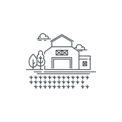 Farm barn line icon with germinating field Outline illustration of sprouts on the field vector linear design isolated. Farm logo template, element for farming design, line icon object.