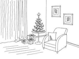 Living room graphic Christmas tree black white interior sketch illustration vector