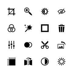 Image Editing icons - Expand to any size - Change to any colour. Flat Vector Icons - Black Illustration on White Background.