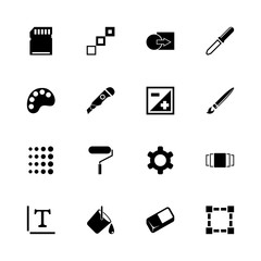 Image icons - Expand to any size - Change to any colour. Flat Vector Icons - Black Illustration on White Background.