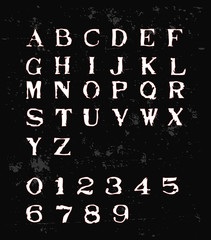 Old Typewriter Font - White Retro Font With red Outline